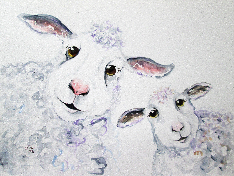 овцы рисунок красками это