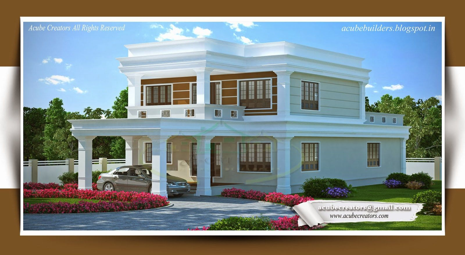 New House Plans 2014 flat style kerala home design sq ft modern house plans designs