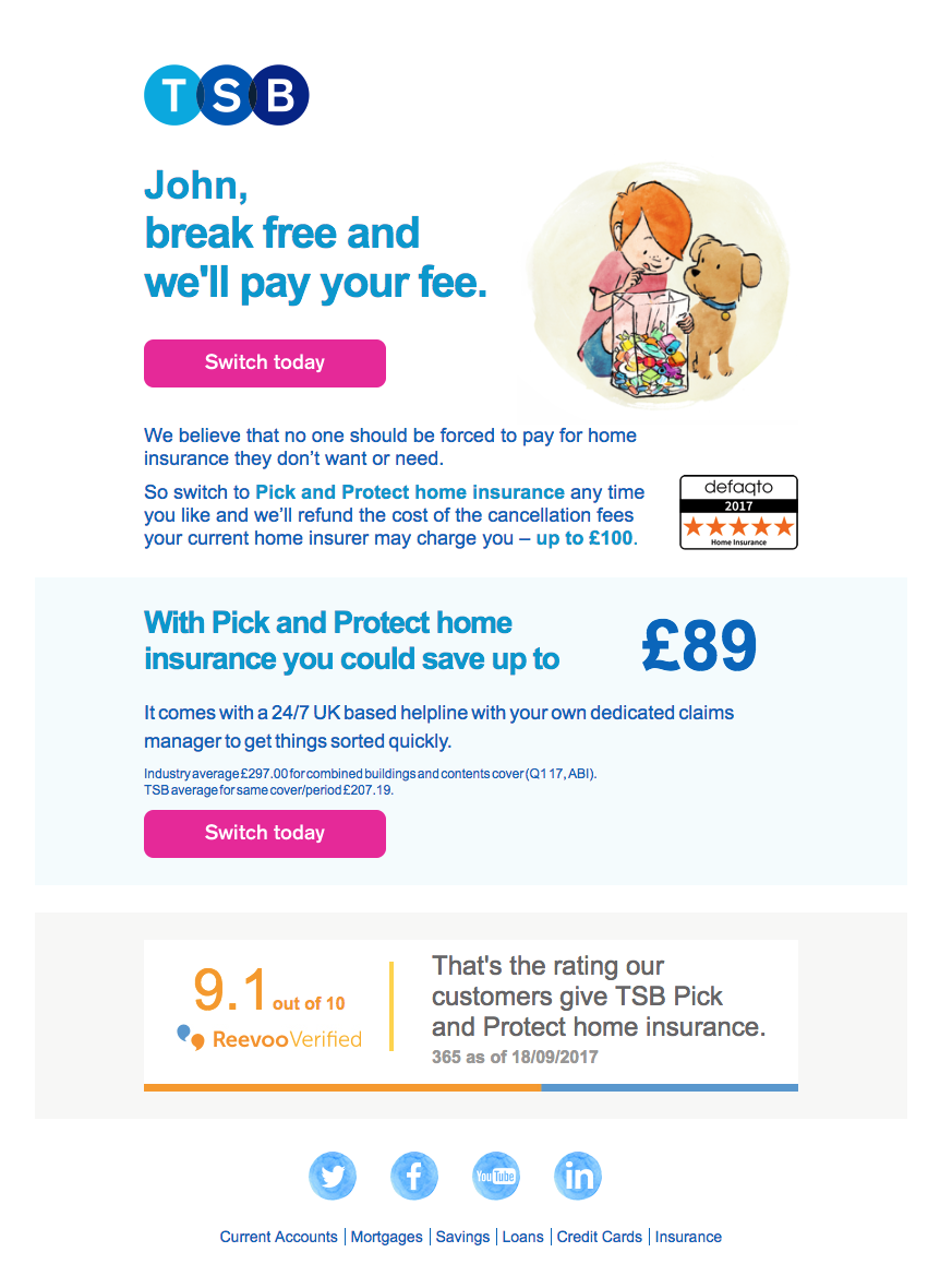 Reevoo Score Banner On The Footer Of A Tsb Insurance Email
