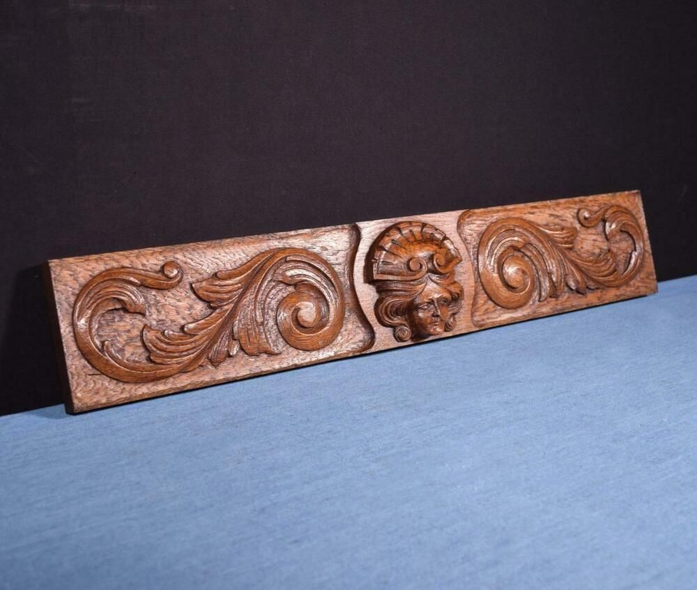 *French Antique Carved Architectural Panel Solid Oak Wood
