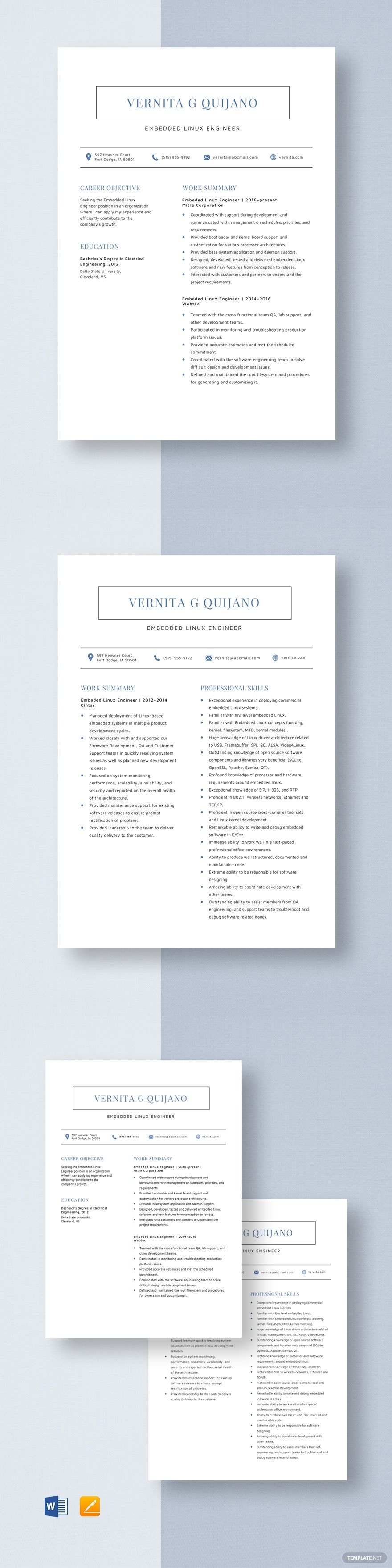 Embedded linux engineer resume template in 2020 project