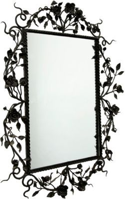 Photo of Lillian August – Vintage Wrought Iron Mirror – Black Roses