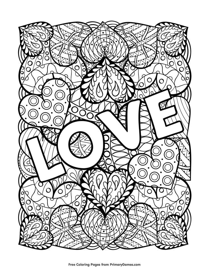 Love Coloring Page • FREE Printable EBook Love Coloring Pages, Heart  Coloring Pages, Valentines Day Coloring Page