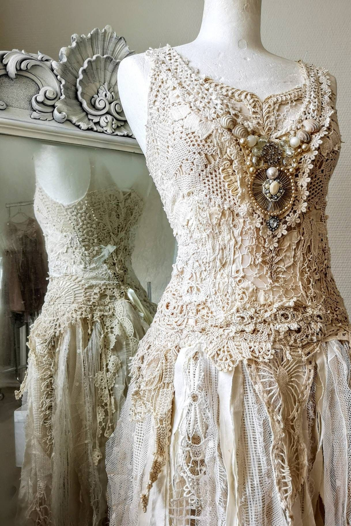 One of a kind wedding dress bridal gown laceboho wedding dress