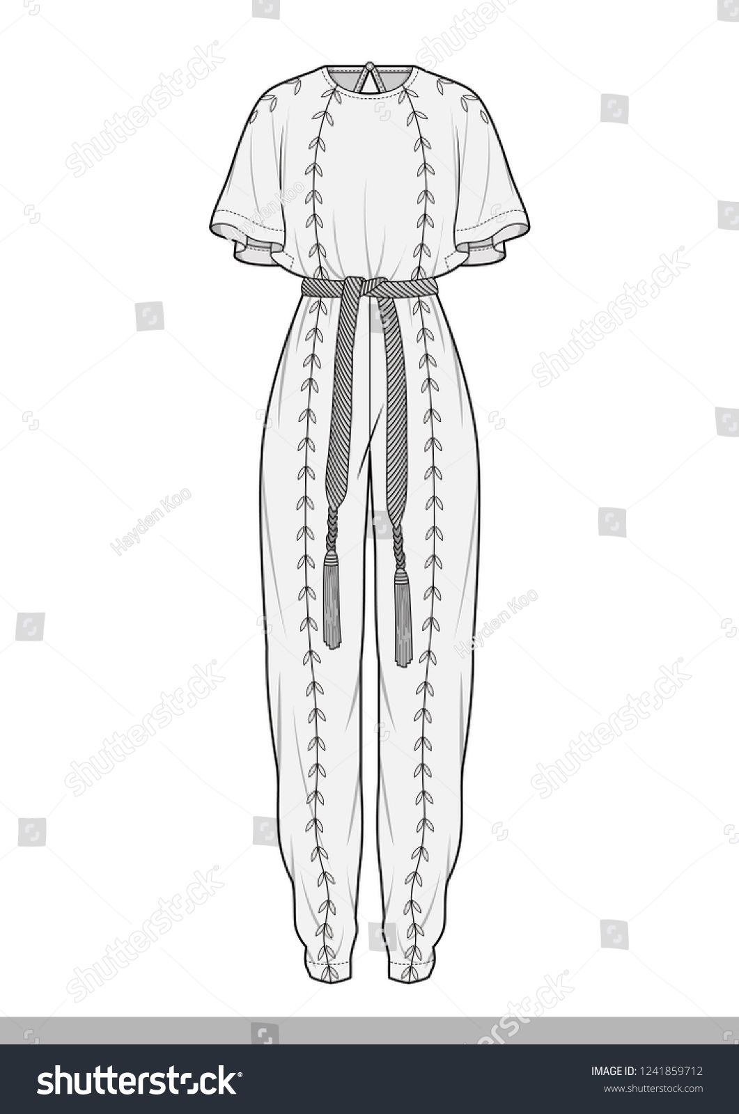 #Fashion drawing Jump Suit Fashion Flat Technical Drawing Stock Vector (Royalty Free) 1241859712