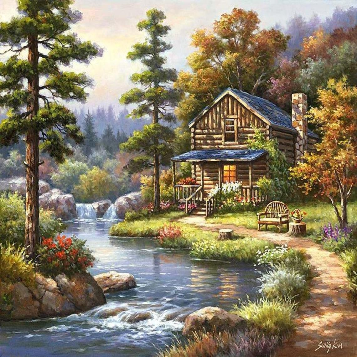 Log cabin in the woods painting - The Log Cabin By The Fallls