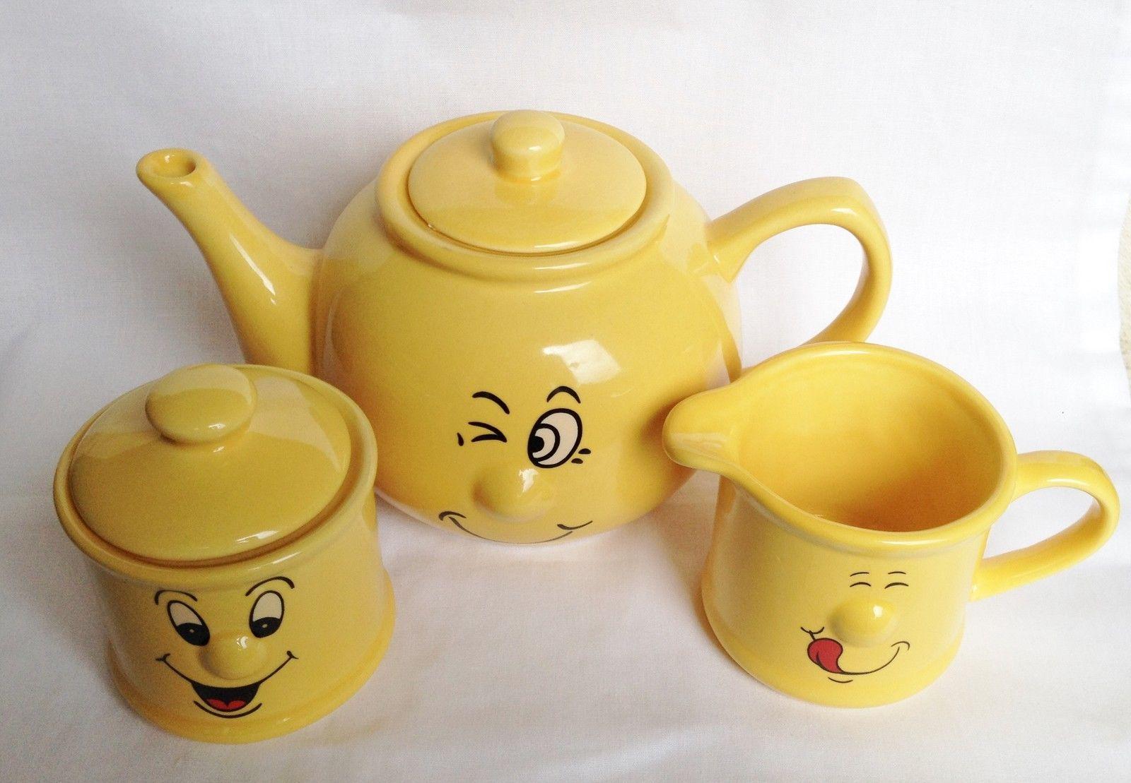 Yellow sugar bowls with lids - Trade Winds Funny Faces Yellow Teapot Milk Jug And Sugar Bowl Ceramic Ebay