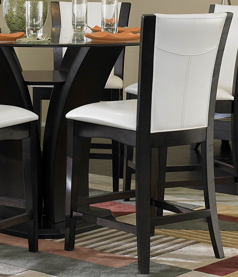 CARRE - pcs ROUND GLASS COUNTER HEIGHT DINING ROOM TABLE  CHAIRS