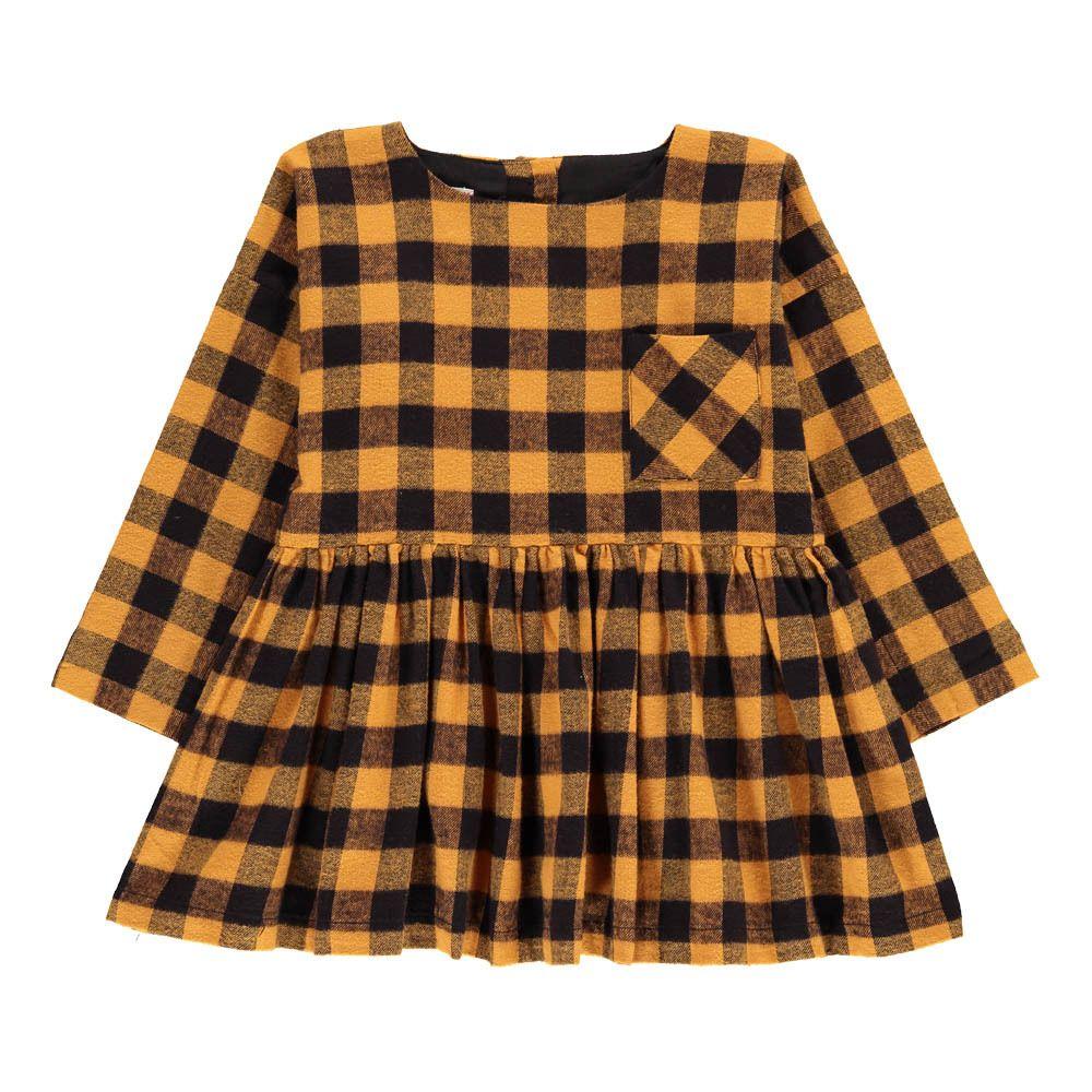 Morley Kariertes Kleid Flanelle Greta Senffarben  Kinder kleider