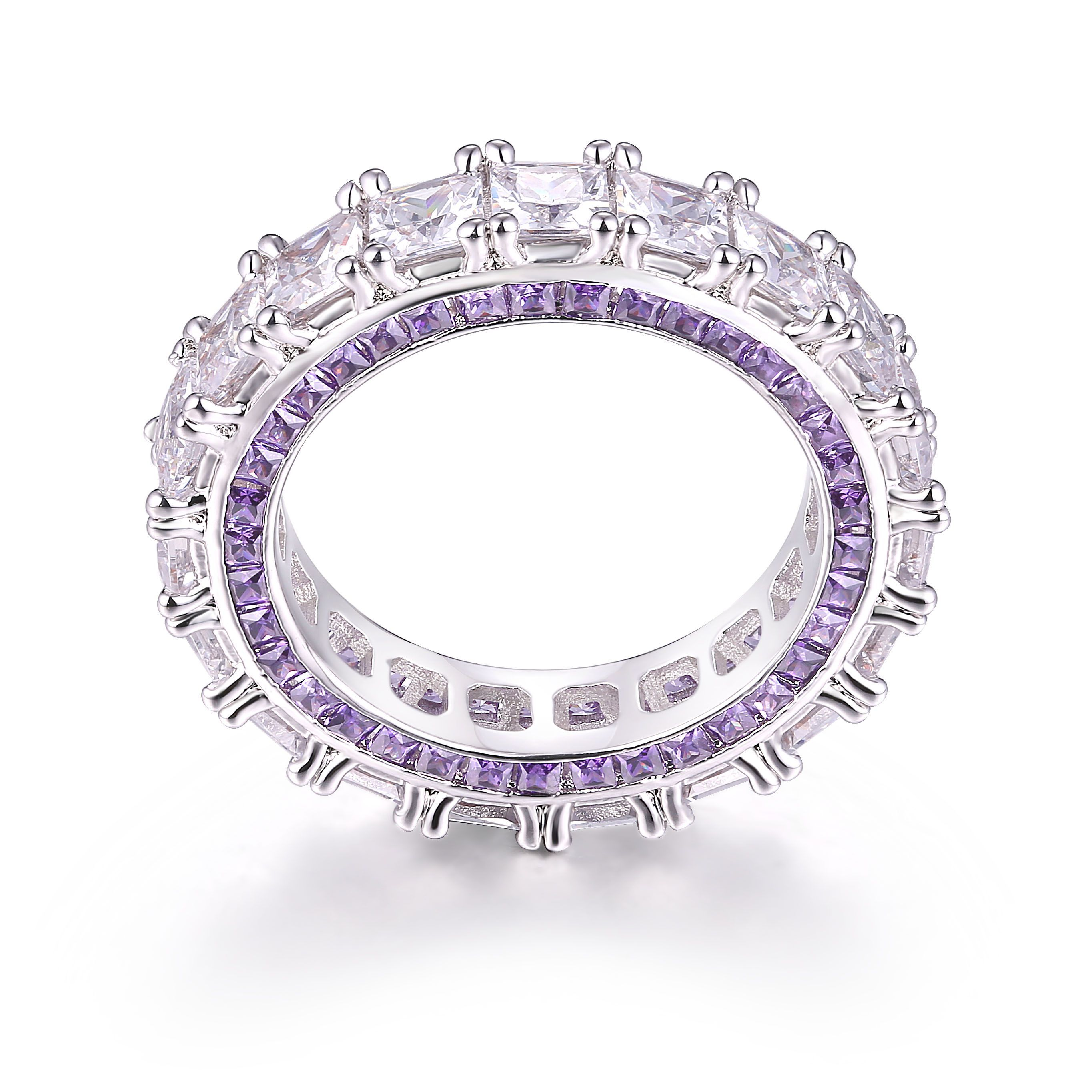 ring zirconia crislu cubic band eternity bands solitaire