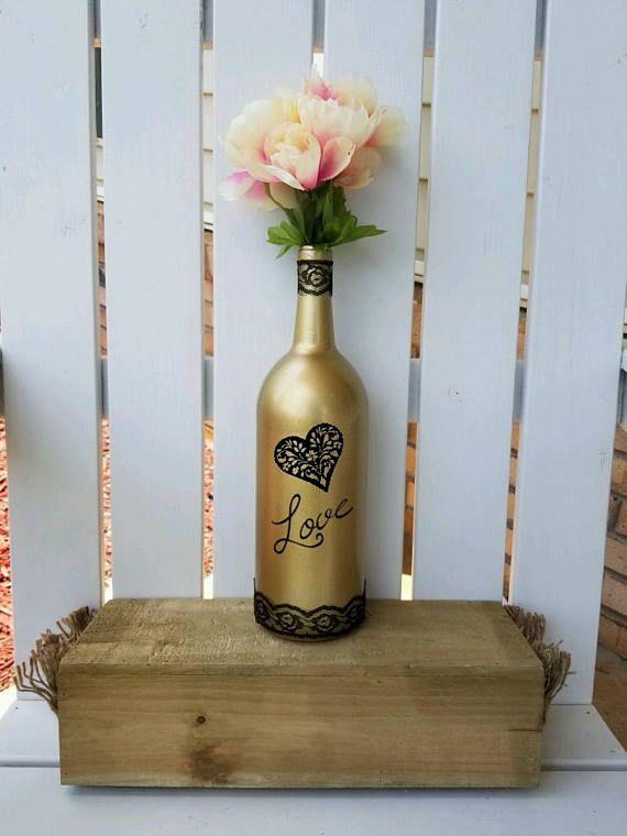 wine bottle centerpiece decor gold wine bottle wedding nites thecrafttableetsylistings wine. Black Bedroom Furniture Sets. Home Design Ideas