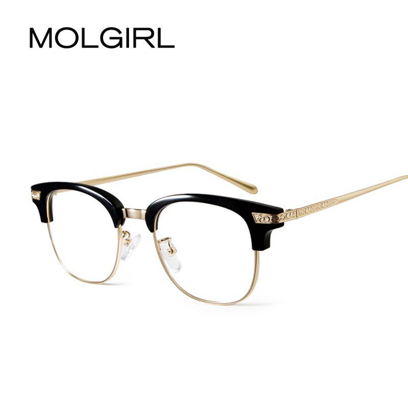 2d4deeacac MOLGIRL Fashion Men Women Optical Eyeglasses Retro Frame Glasses Clear  Glass Brand Transparent Glasses Women s Men s Frames