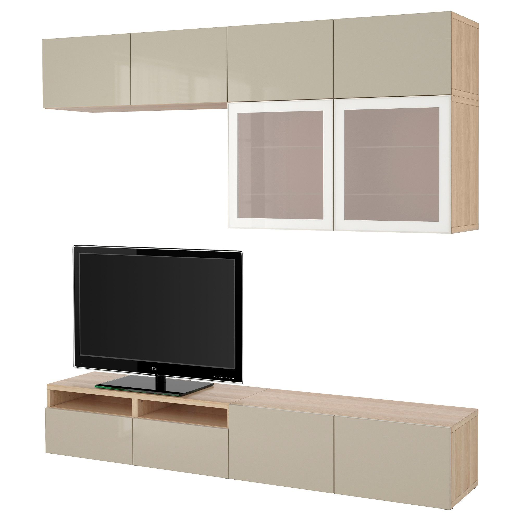 Color birch effect black brown high gloss gray turquoise white white - Best Tv Storage Combination Glass Doors White Stained Oak Effect Selsviken High