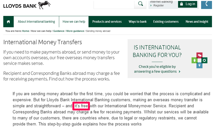 Again Lloyds Are Advertising Free International Money Transfers