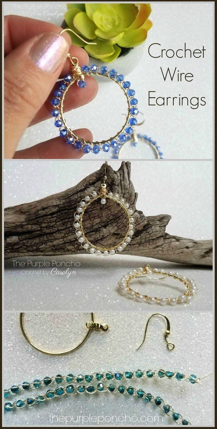 Free Crochet Pattern: Beaded Crochet Wire Earrings | Wire earrings ...