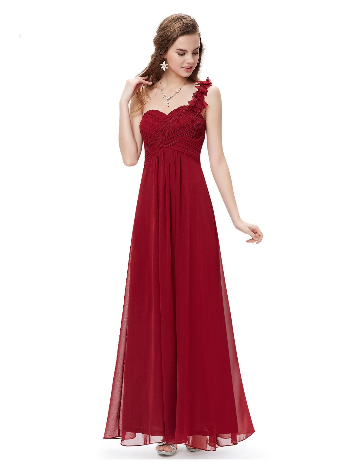 Langes One-Shoulder Abendkleid Rot  Brautjungfernkleider lang