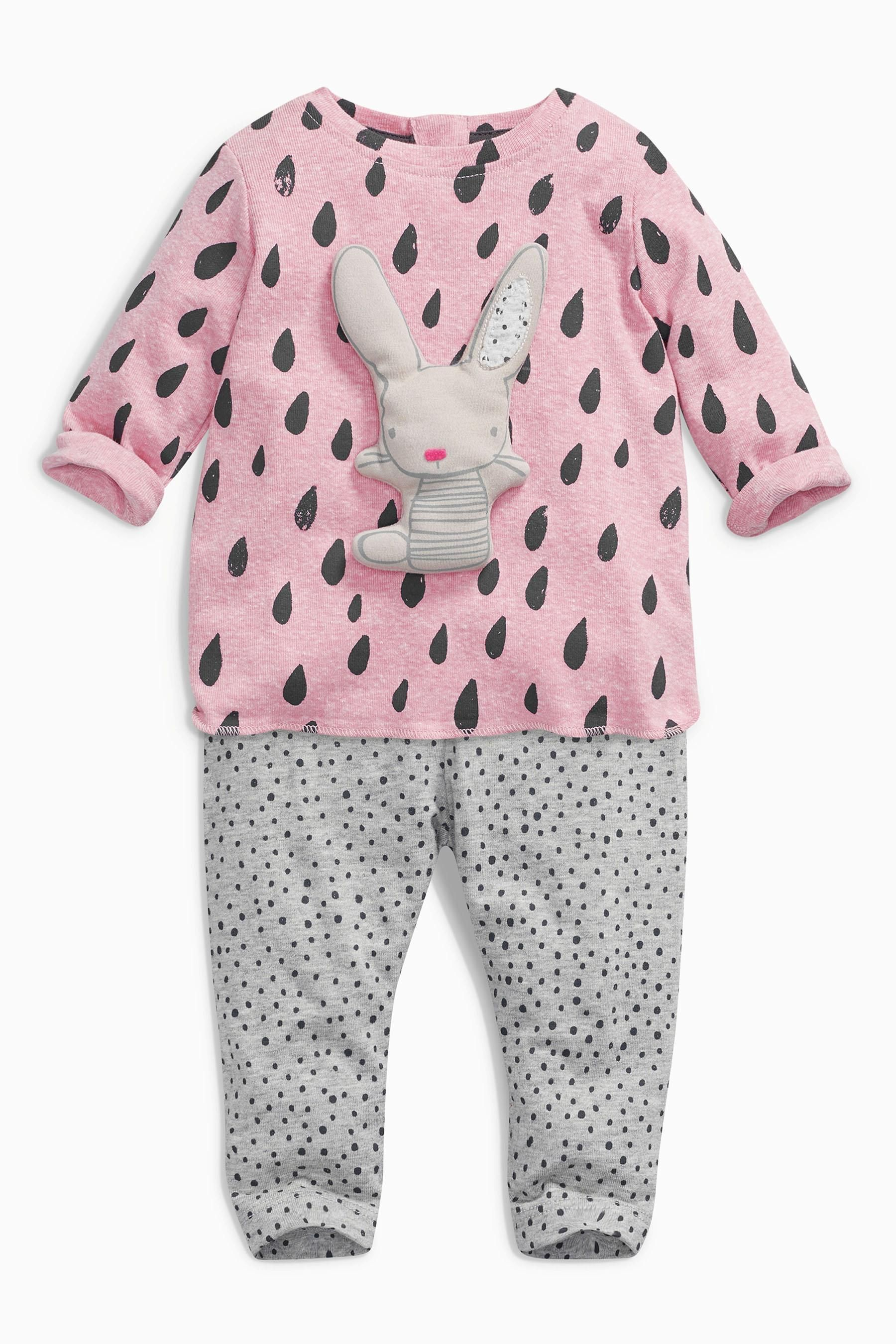 5ba285c60a26 Buy Pink Print Bunny Top And Leggings Set (0mths-2yrs) from the Next UK  online shop