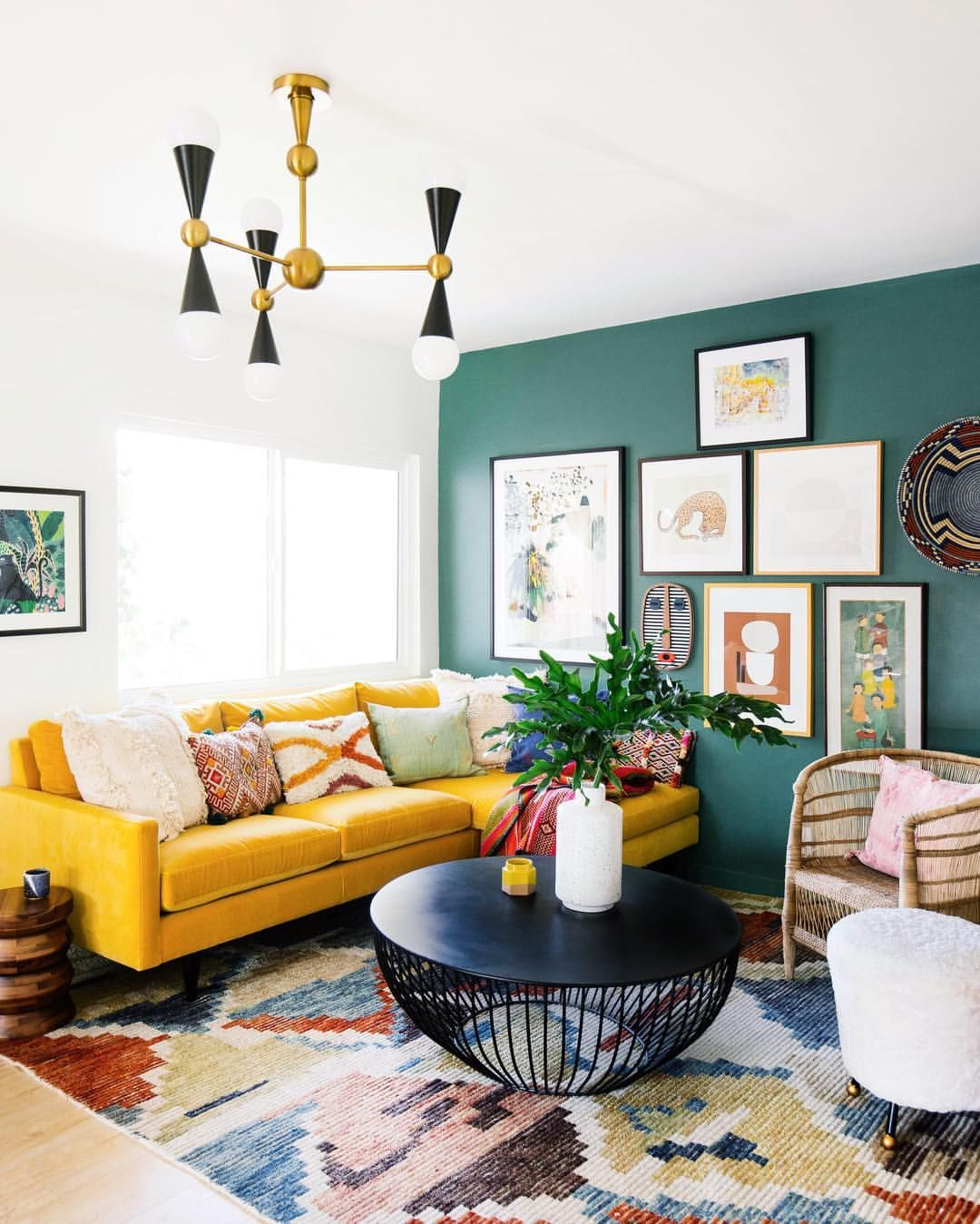 Dabito On Instagram Our New Yellow Sofa Arrived Thank You Roomandboard For Helpi Eclectic Living Room Small Living Room Decor Colorful Eclectic Living Room #yellow #and #green #living #room