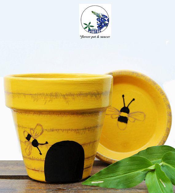 Painted Bee Hive Flower Pot – Yellow Terracotta Planter, PotsEtc