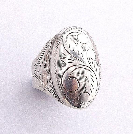Huge Sterling Silver Ring, Adjustable Engraved Statement Ring