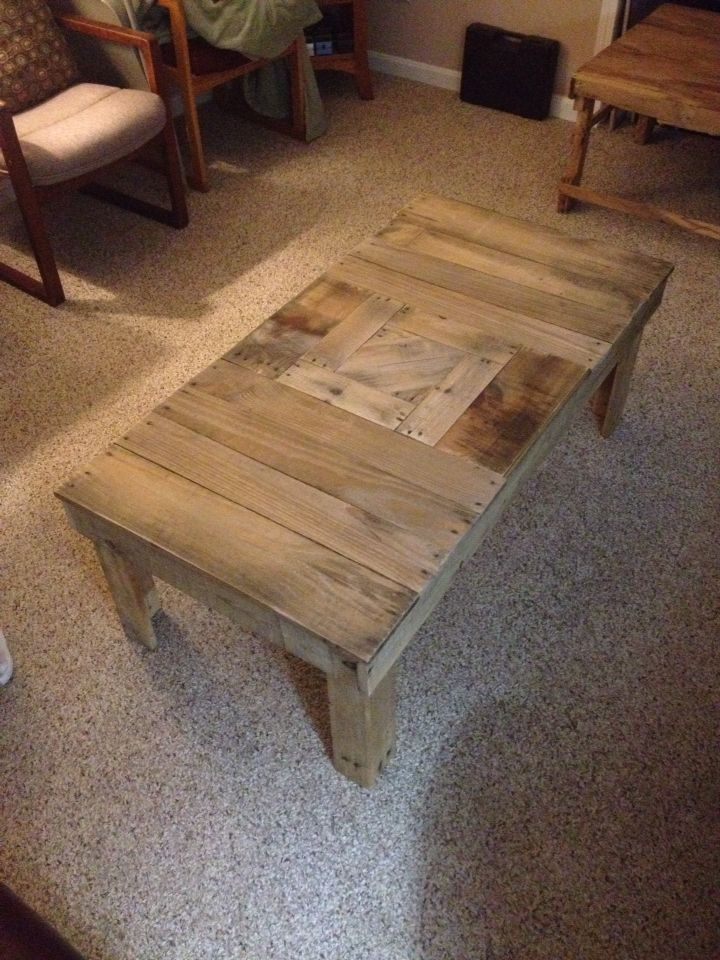 Another pallet table. Wood= free, nails= $7, labor and personal achievement= priceless. Sold before it was done.