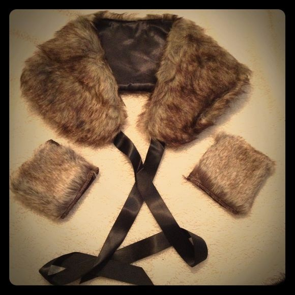 Faux Fur Collar & Glove Set Beautiful brown fur collar shawl with black ribbon and matching fur open finger gloves. Very cute and fun.  Brand new never worn. No size on them but the shawl is for a small frames. Accessories Scarves & Wraps