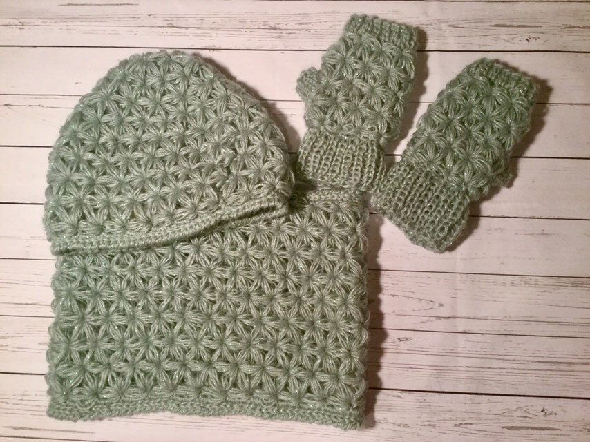 Excited to share this item from my  etsy shop  Women Hand Crochet Jasmine  Stitch Hat Cowl Mittens 7531896d784