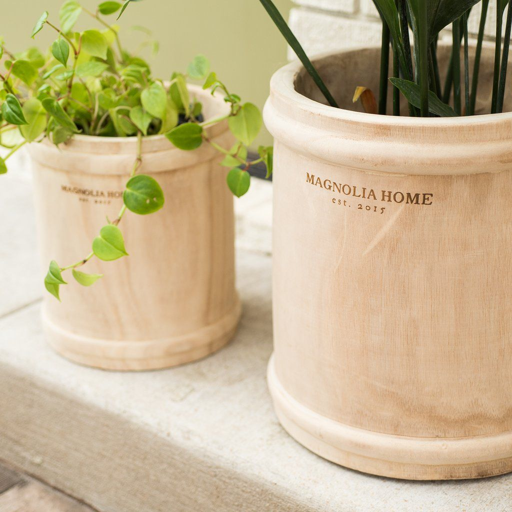 Taj Wooden Pot With Rings Magnolia Chip Joanna Gaines Garden Waco Tx Magnolia Com Magnolia Homes Chip And Joanna Gaines Magnolia