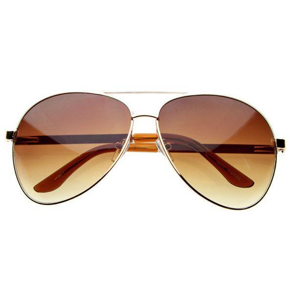 Designer Inspired Large Metal Aviator Sunglasses 1508 Gold