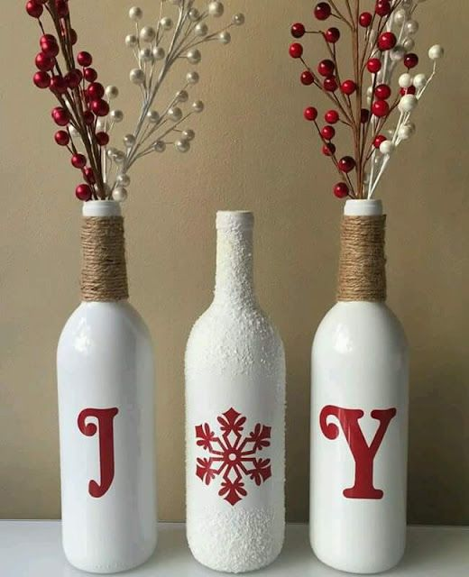 IDEAS DE DECORACIÓN NAVIDEÑA CON BOTELLAS DE VIDRIO by artesydisenos