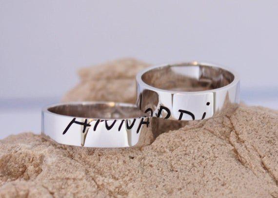 WEDDING BAND SET. Handwriting Wedding Band. Custom Wedding | Etsy