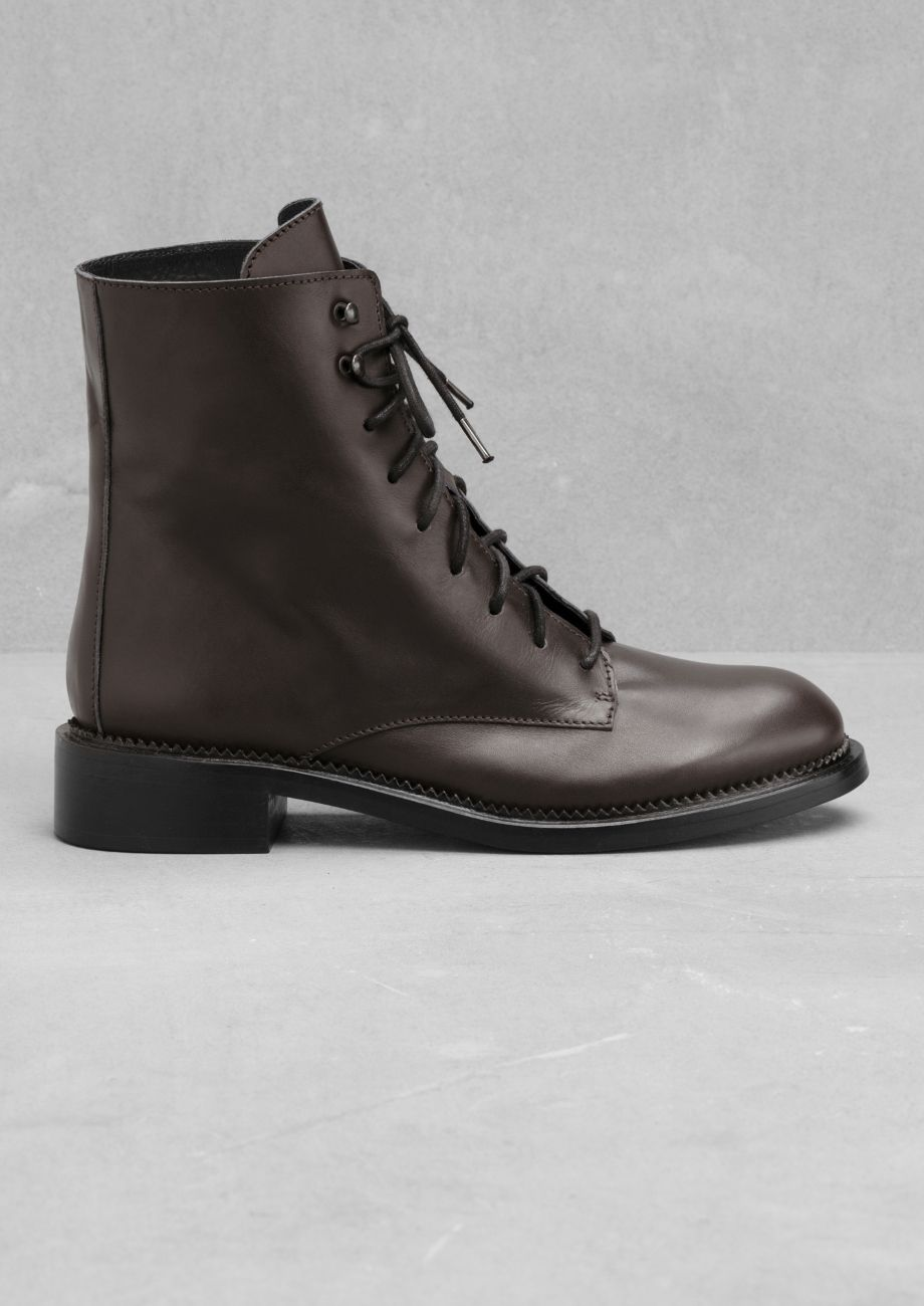 034022a79 & Other Stories | Lace-Up Leather Boots | Shoes | Boots, Leather ...