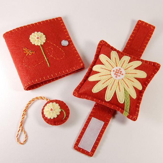 Handmade Wrist Pincushion, Needle Book and Scissor Fob by TheBlueDaisy, via Flickr