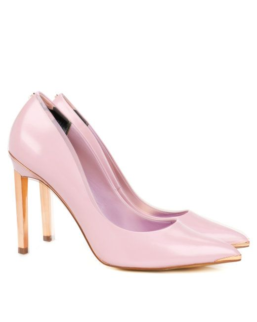 Metal pointed court shoe Light Pink | Footwear | Ted Baker