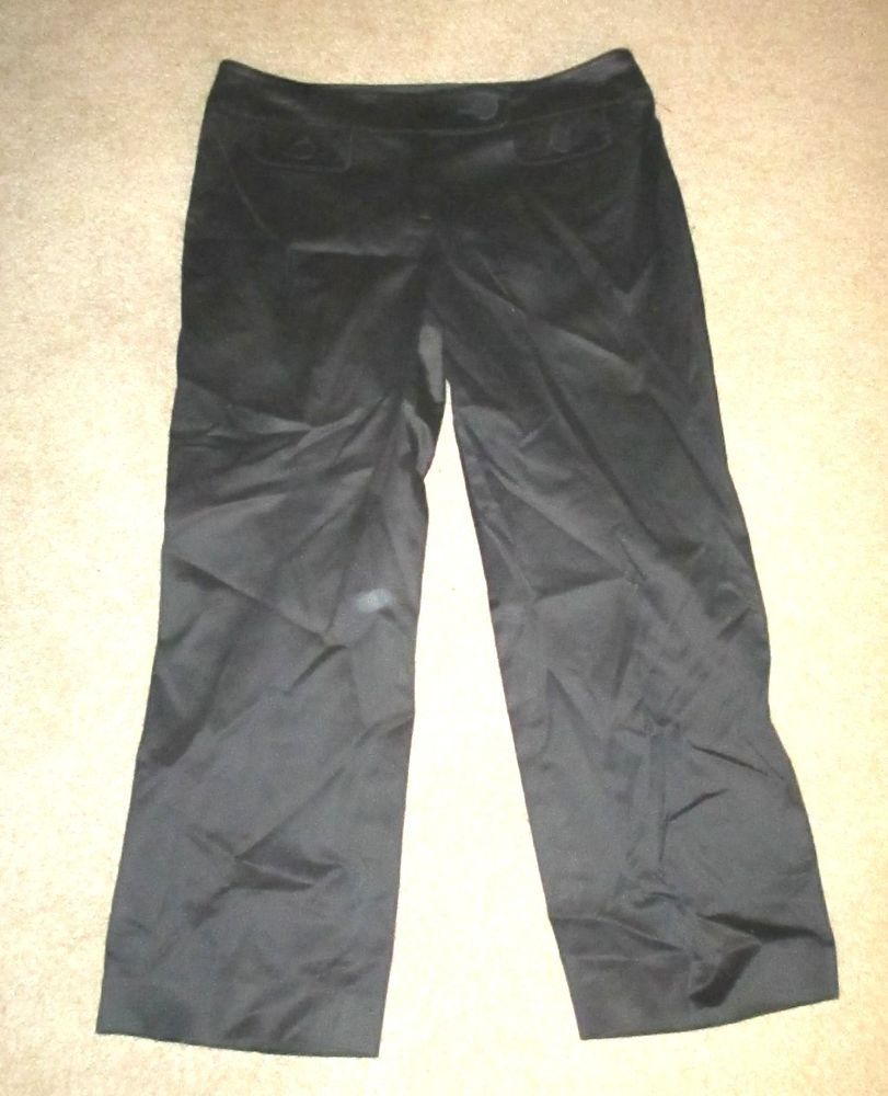 Pants Ann Taylor sz 8 Lindsay Crop Capri Black Cotton Blend #AnnTaylor #CaprisCropped