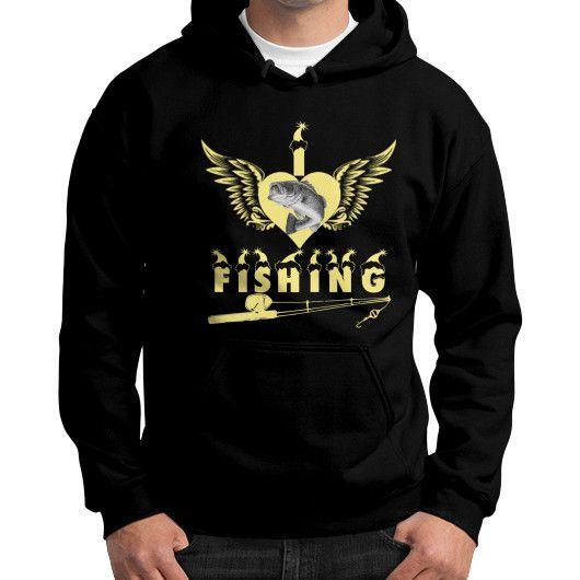 I love fishing Gildan Hoodie (on man)