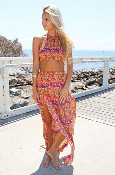 7d7f8dd44953 2 piece sets bohemian print maxi skirt   crop top