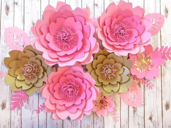 Paper Flower Arrangement Set of 5 or 7, Large Paper Flower Wall Decor, Pink Floral Backdrop for Girls Nursery, Store Display, Bedroom Art #largepaperflowers