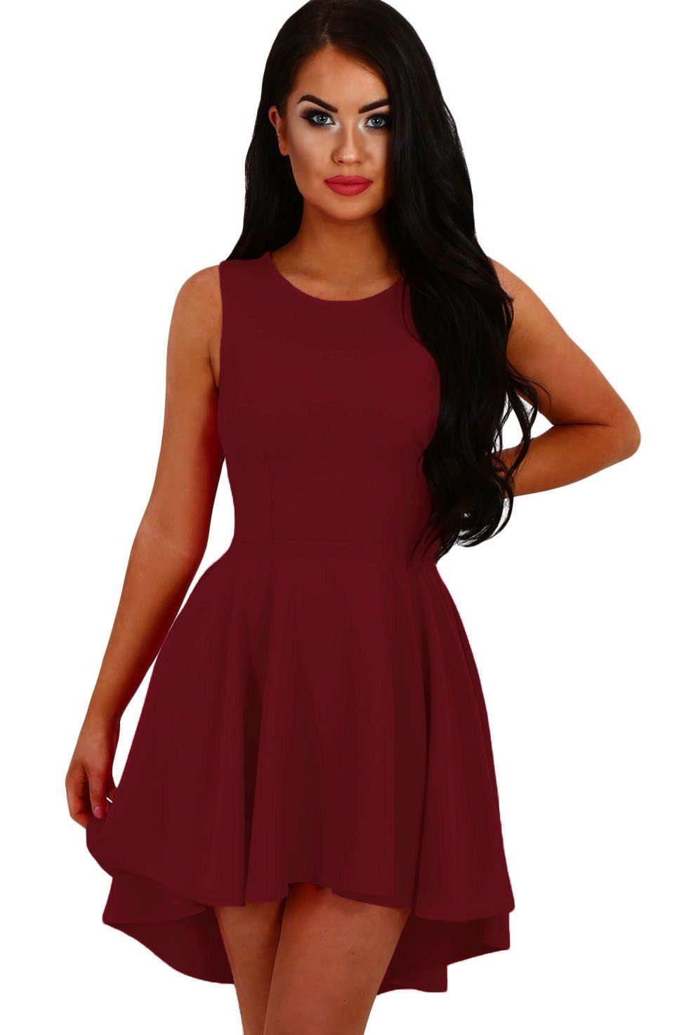 Robe Patineuse Soiree De Cocktail Bordeaux Courte Devant Longue Derriere Pas Cher Www Modebuy Com Mod Sleeveless Skater Dress Skater Dress Flared Skater Dress