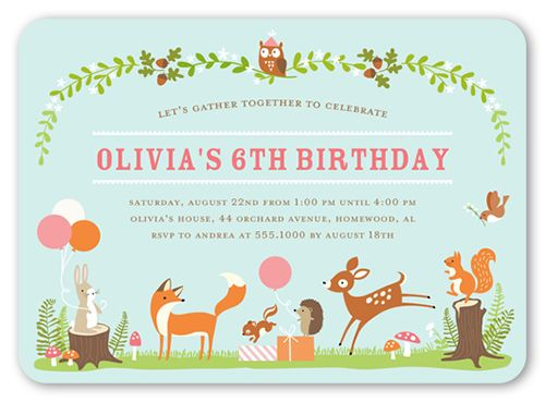 Gathering forest 5x7 invitation card birthday invitations gathering forest 5x7 invitation card birthday invitations shutterfly stopboris