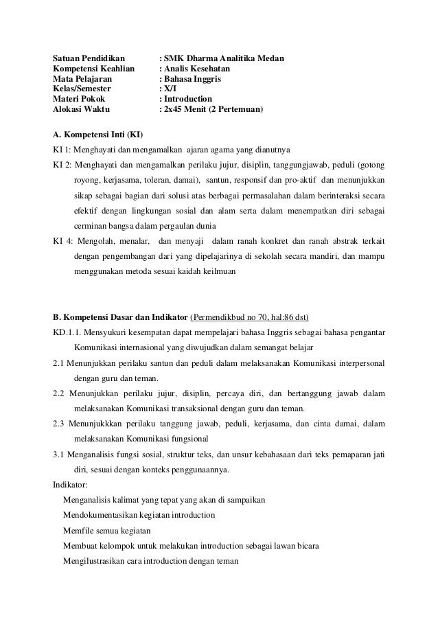 Contoh Rpp Bahasa Inggris Kurikulum 2013 Untuk Smk X Sekolah