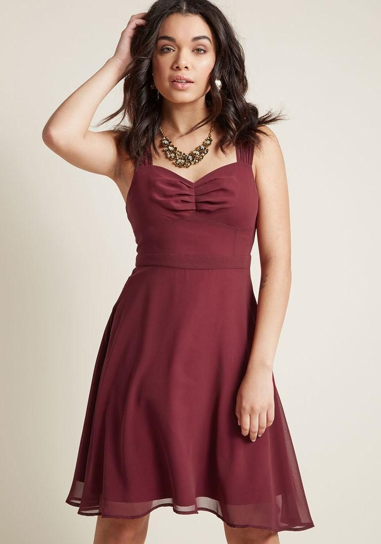 Modcloth modcloth sleeveless chiffon cocktail dress in burgundy