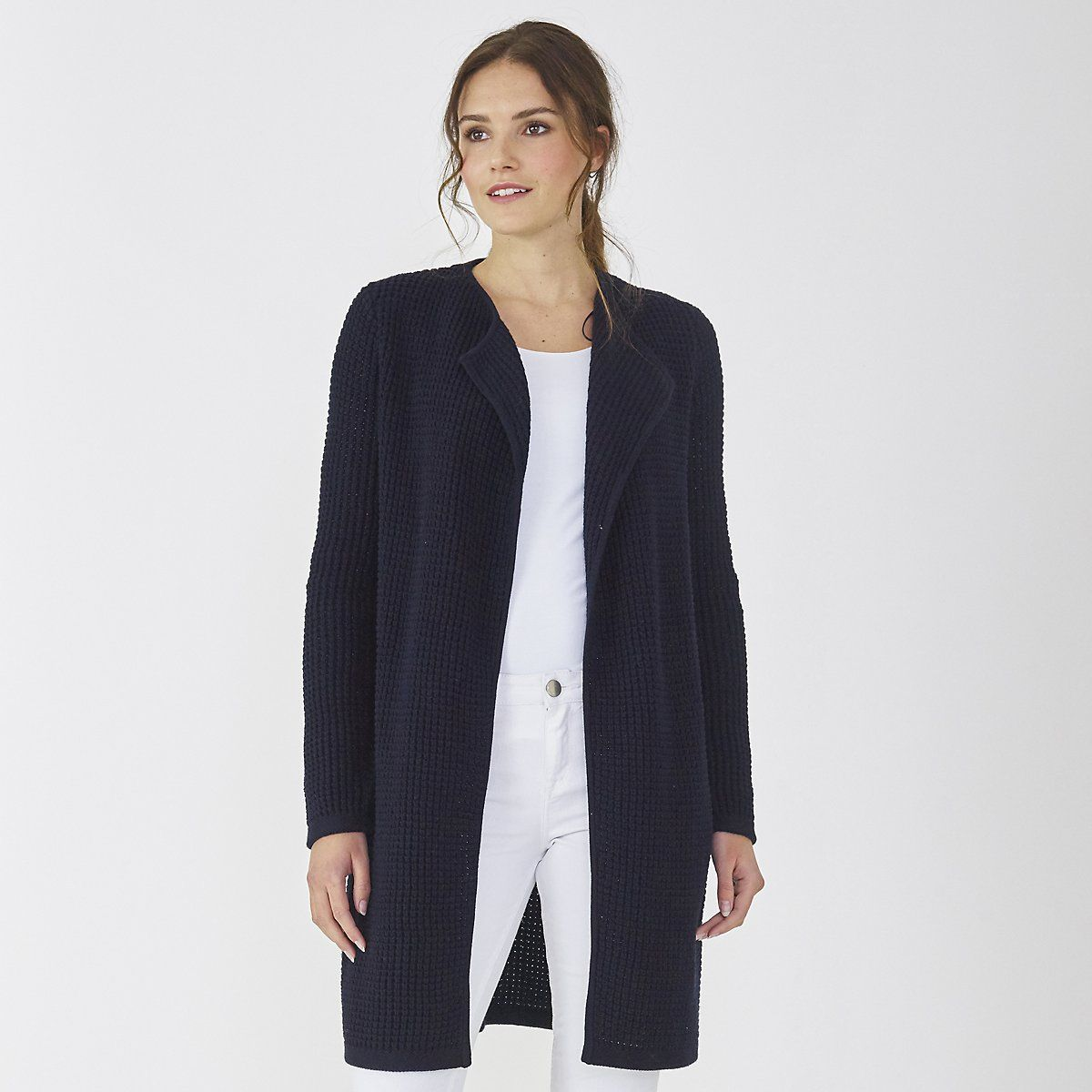 Thermal Stitch Waterfall Cardigan | The White Company US. Made ...