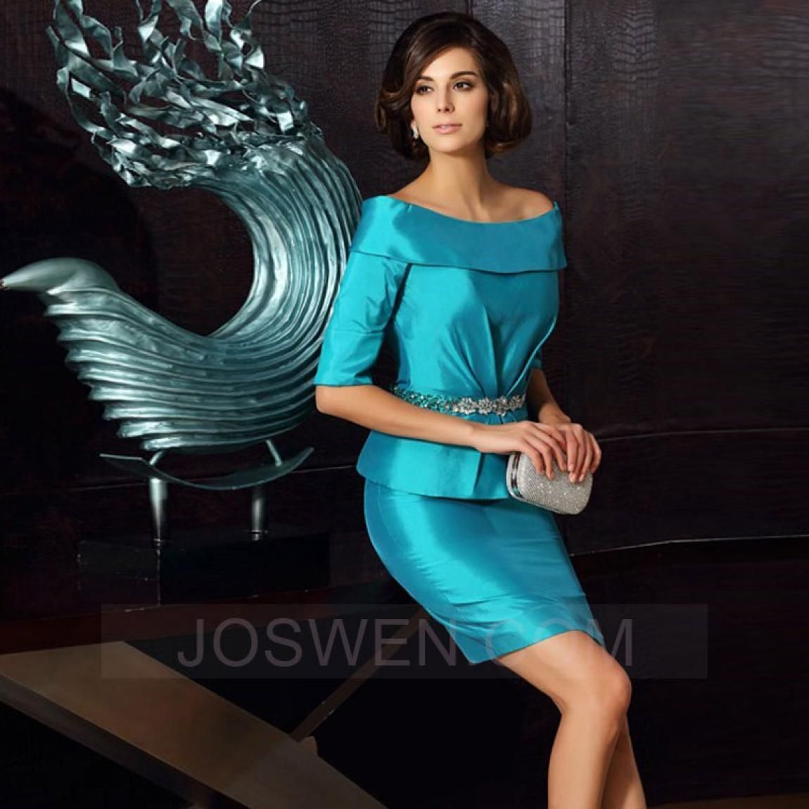 ef2c8094751 Joswen Dresses for Weddings and Special Occasions - Sheath Off-the-shoulder  Short Taffeta Mother Of The Bride Dress With Rhinestone
