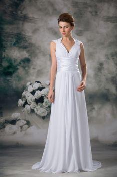 Simple Princess V-neck With a Train Chiffon Wedding Dress with