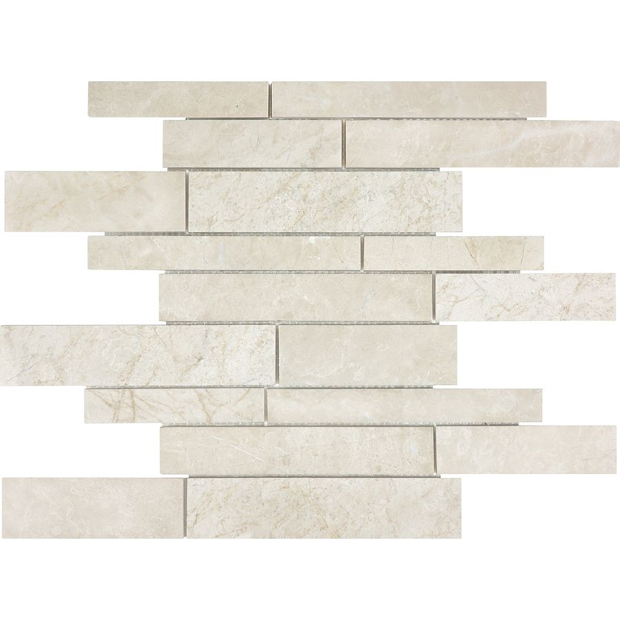 Shop 12-in x 12-in Crema Luna Marble Natural Stone Mosaic Wall Tile ...