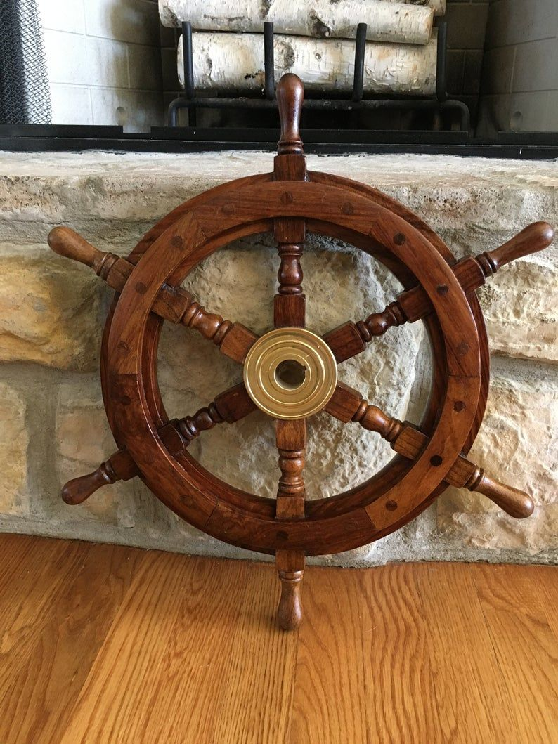 Vintage 19 Wooden Ships Wheel Decorative Ships Wheel With Etsy