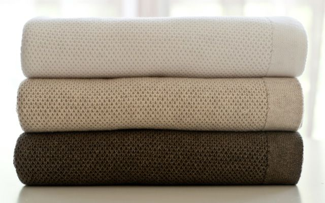 Natural, earthy tones. Honeycomb knit blankets in white, sand and mocha  www.gatherkids.com.au