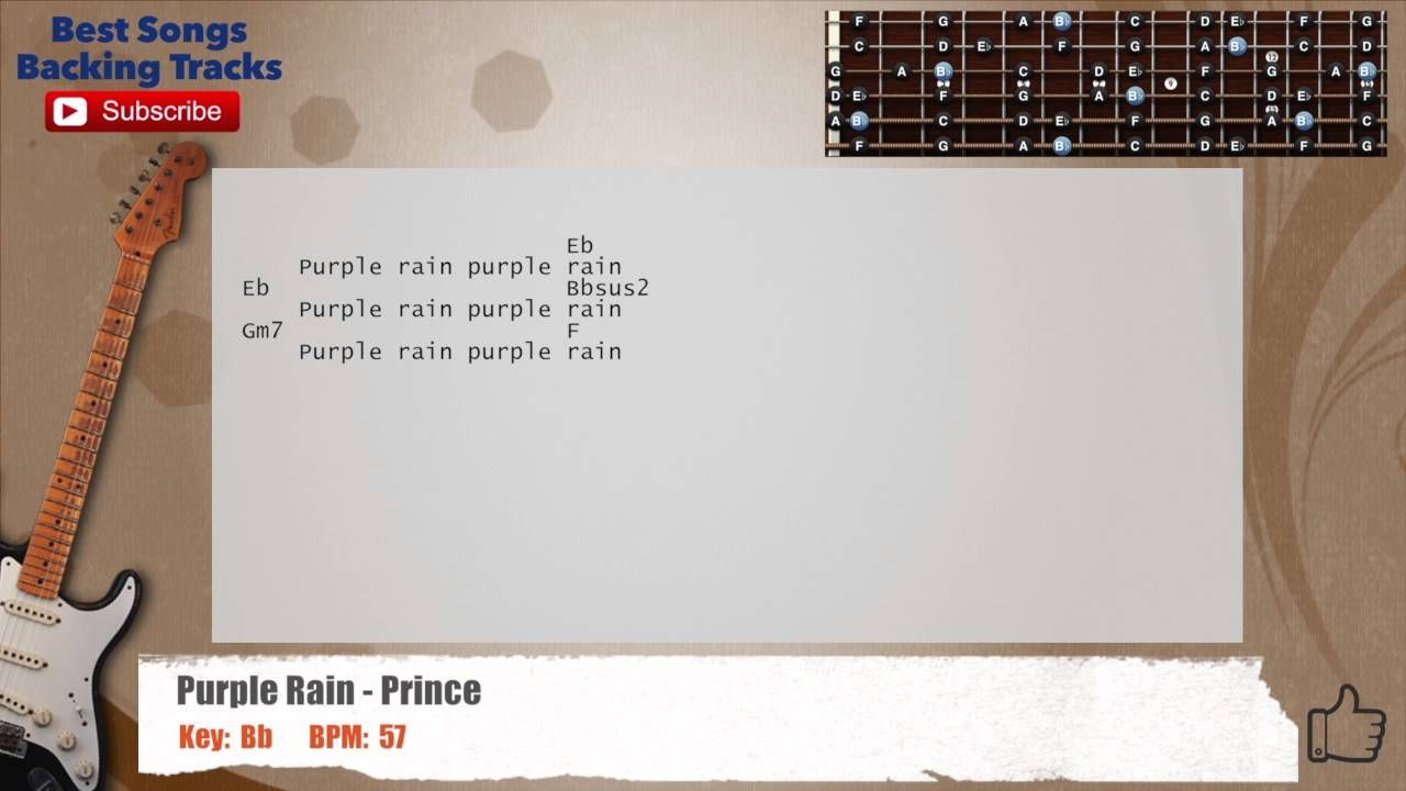 Purple Rain Prince Guitar No Capo Backing Track With Scale Chords