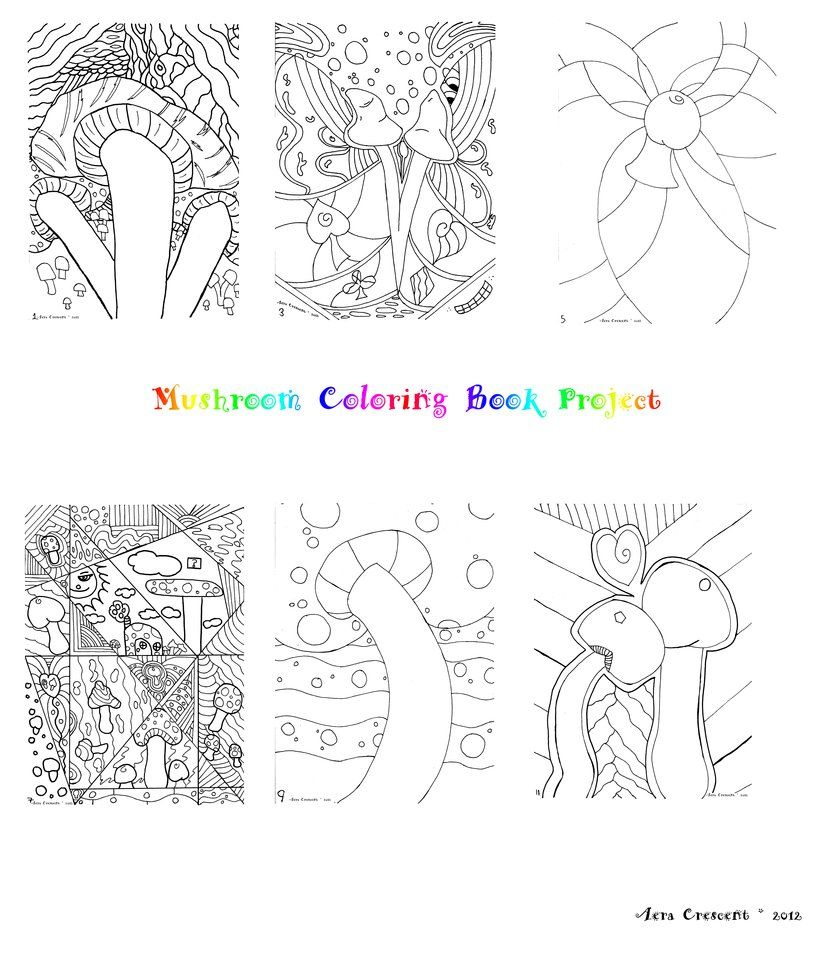 Mushroom Coloring Book Project. Over 8 pages of my lineart of crazy ...